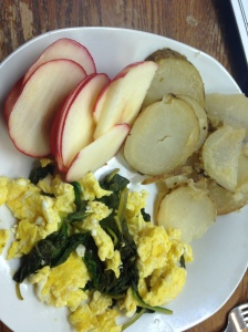 2 eggs scrambled with spinach and two tsp of feta, pepper and garlic. 1 sliced apple and 1/2 of a roasted baked potato with salt and pepper.